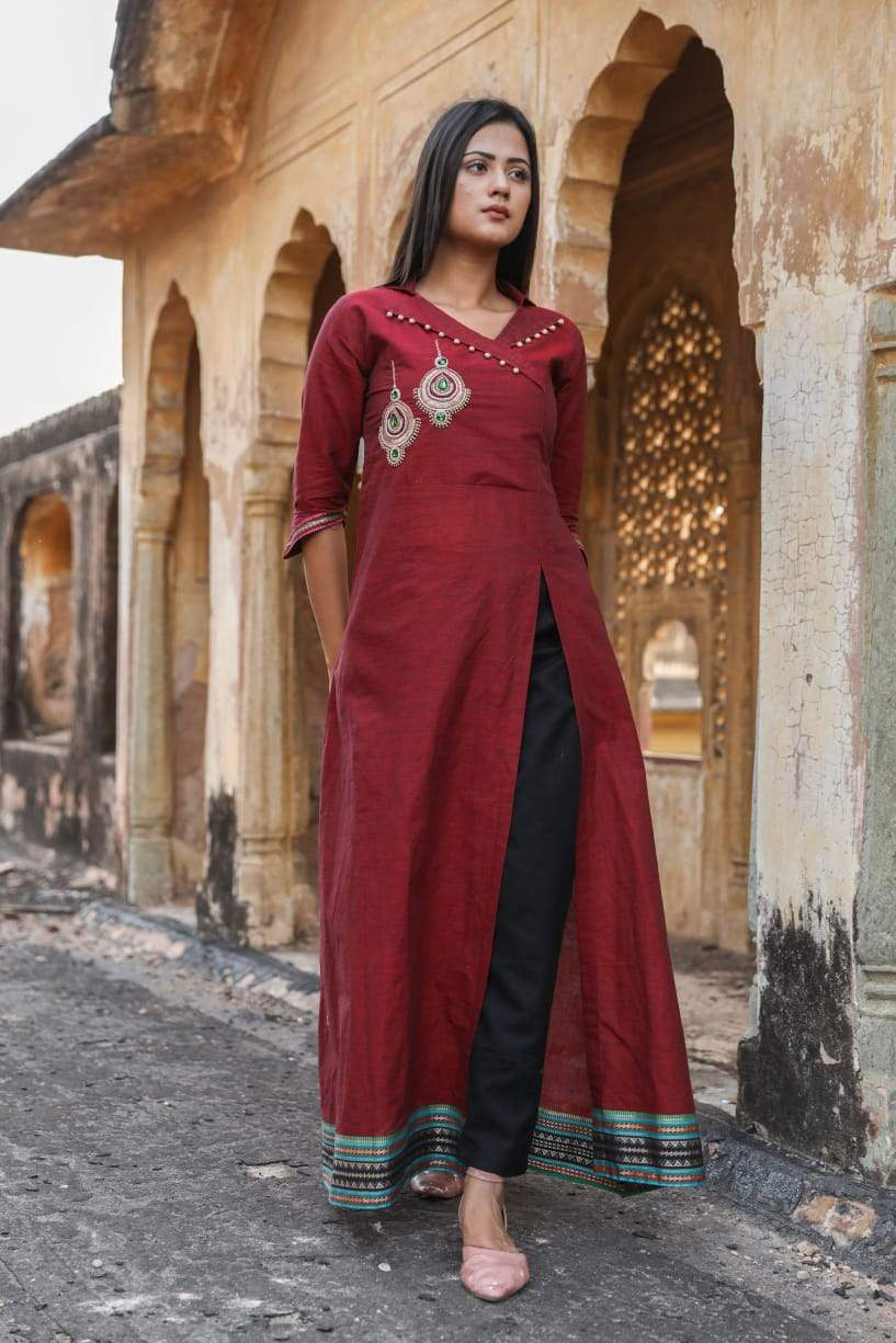 Designer Maroon Black Linen Cotton Ready to Wear Two Piece Trouser Kurta Set OM02 - Ethnic's By Anvi Creations