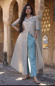 Designer Offwhite Peach Linen Cotton Ready to Wear Two Piece Trouser Kurta Set OM03 - Ethnic's By Anvi Creations