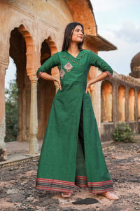 Designer Green Black Linen Cotton Ready to Wear Two Piece Trouser Kurta Set OM04 - Ethnic's By Anvi Creations