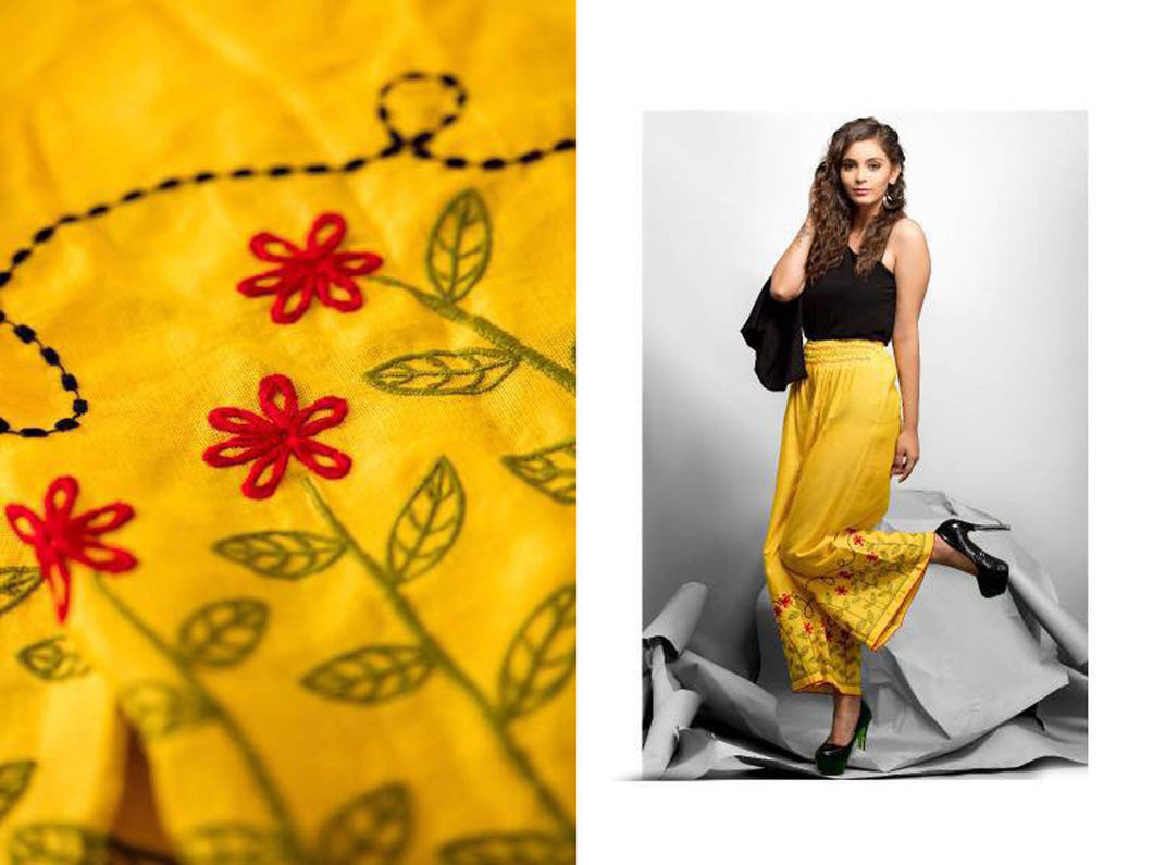 Designer Yellow Linen Cotton Embroidered Palazo Pants Free Size P702 - Ethnic's By Anvi Creations