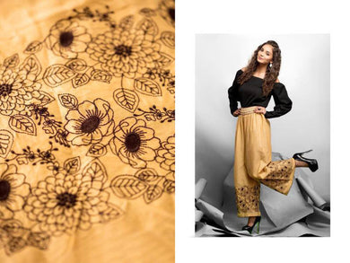 Designer Brown Linen Cotton Embroidered Palazo Pants Free Size P703 - Ethnic's By Anvi Creations