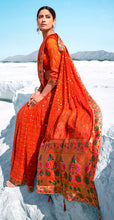 Load image into Gallery viewer, Designer Orangish Red Printed Georgette Saree with Banarasi Border Palla PG94