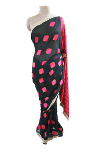 Black Georgette Saree with Phulakari Embroidery PHS94 - Ethnic's By Anvi Creations