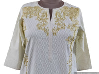 Semi Stitched Cream Pakistani Embroidered Kurti Kurta Tunic PK03