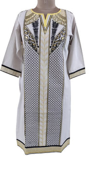 Semi Stitched Off White Pakistani Embroidered Kurti Kurta Tunic PK05