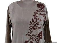 Semi Stitched Light Brown Pakistani Embroidered Kurti Kurta Tunic PK08