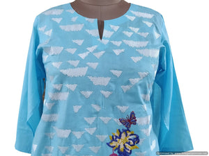 Semi Stitched Light Blue Pakistani Embroidered Kurti Kurta Tunic PK09