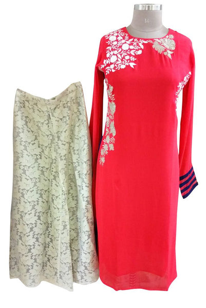 Designer Two Piece Set of Ready to Wear Kurta with Palazo Flared Pants Size 40 PSR22