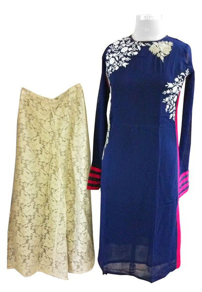 Designer Two Piece Set of Ready to Wear Kurta with Palazo Flared Pants Size 40 PSR23