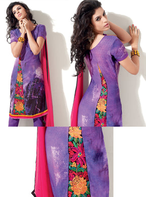 Purple Pashmina Embroidered Dress Material PHM4A