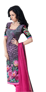 Gray Pink Pashmina Embroidered Dress Material PHM6