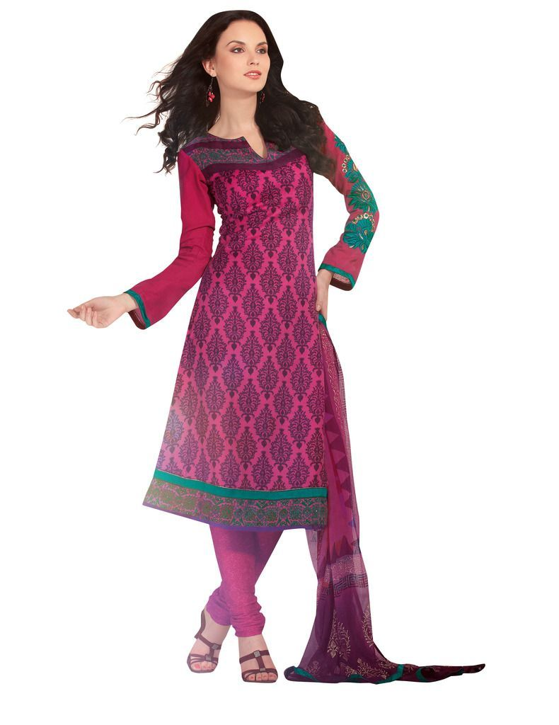 Purplish Pink Pashmina Embroidered Dress Material PHM5A - Ethnic's By Anvi Creations