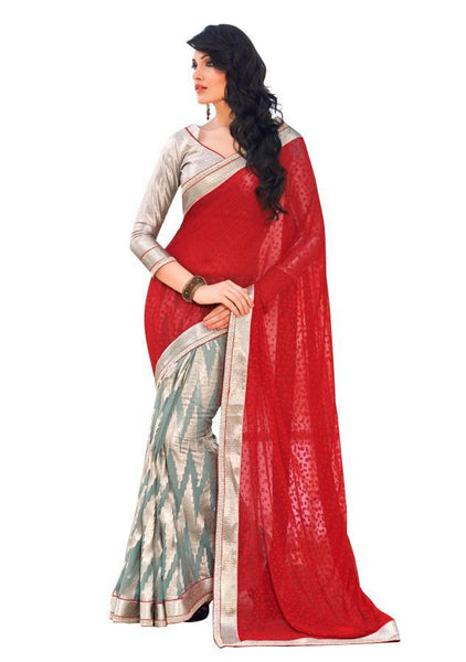 Red Grey Georgette Brasso Saree SC11002