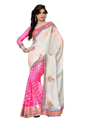 Pink crème Satin Brasso Saree SC11003 - Ethnic's By Anvi Creations