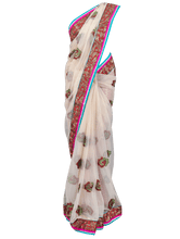 Load image into Gallery viewer, Designer Turquoise Beige Net Embroidered Saree SC820 - Ethnic's By Anvi Creations