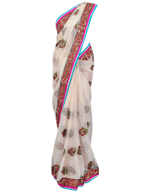 Designer Turquoise Beige Net Embroidered Saree SC820 - Ethnic's By Anvi Creations