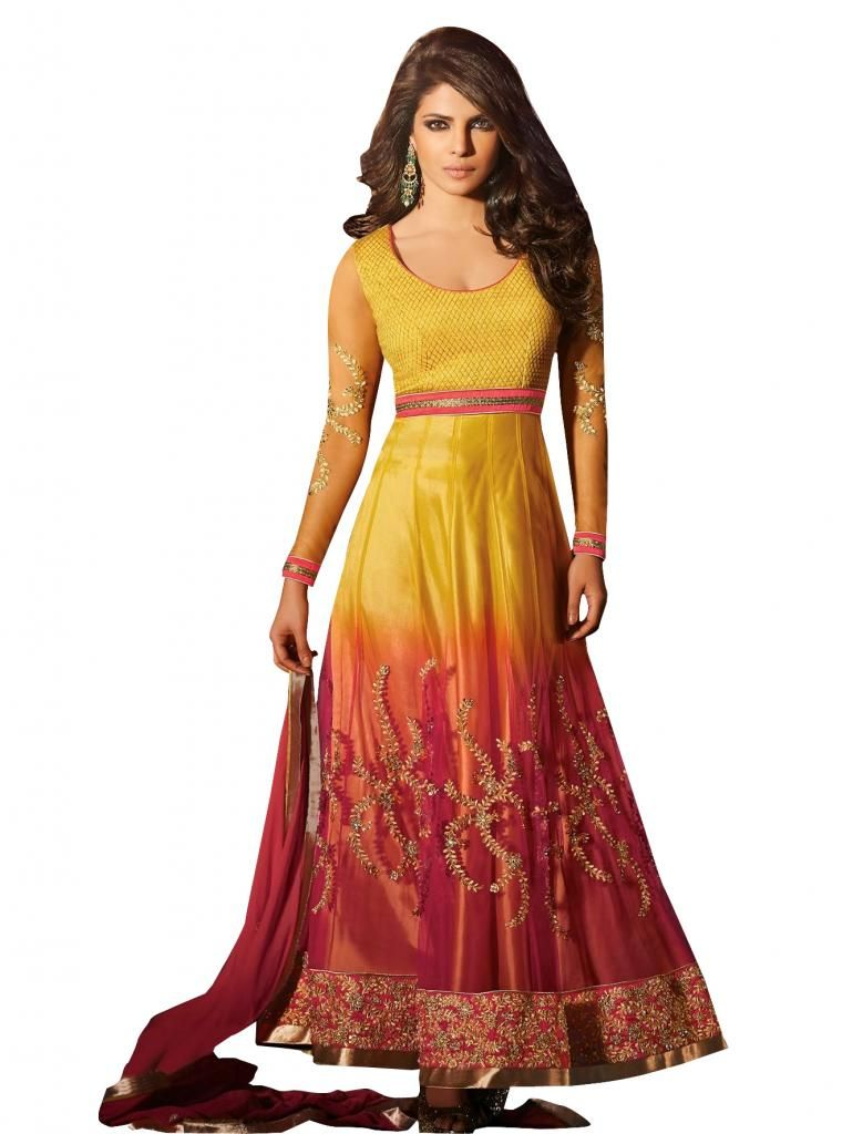 Priyanka Chopra Exclusive Yellow Anarkali SC5028 - Ethnic's By Anvi Creations