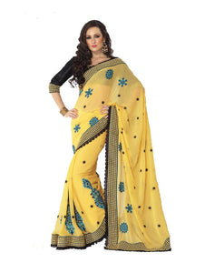 Designer Yellow Georgette Heavy Embroidered saree SC2319 - Ethnic's By Anvi Creations