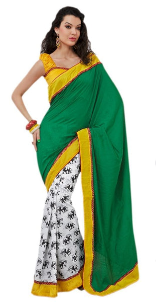 Designer Bhagalpuri Cotton Silk Printed and Lacer Border Saree SC1608