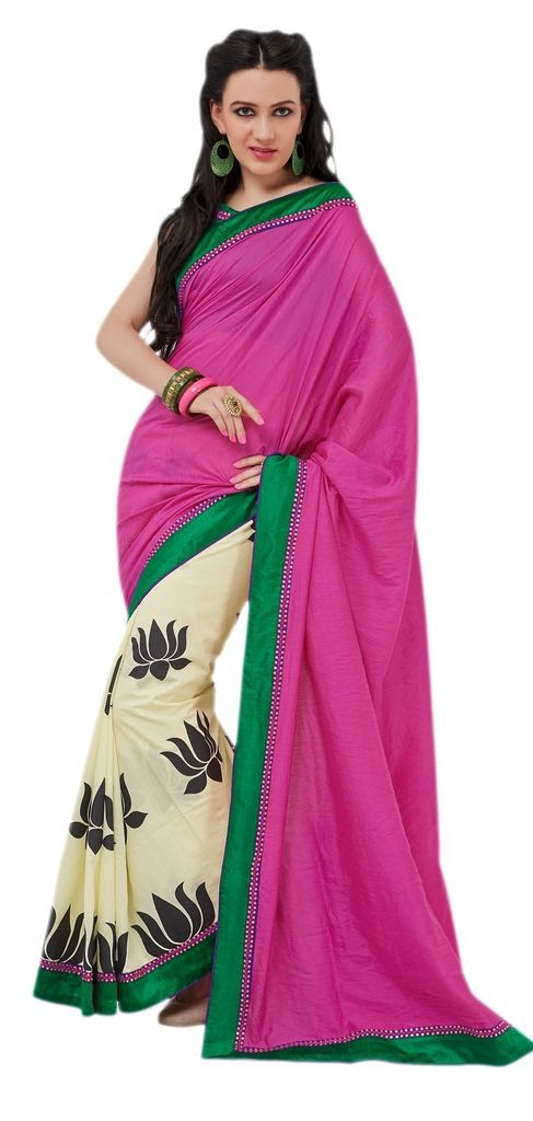 Designer Bhagalpuri Cotton Silk Printed and Lacer Border Saree SC1611 - Ethnic's By Anvi Creations