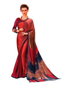 Maroon Georgette Printed Saree RV02 - Ethnic's By Anvi Creations