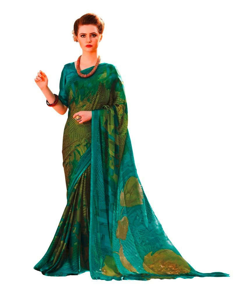 Green Georgette Printed Saree RV7403 - Ethnic's By Anvi Creations