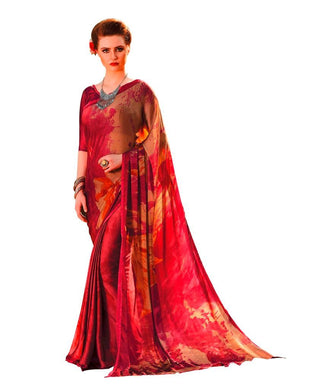 Maroon Georgette Printed Saree RV04 - Ethnic's By Anvi Creations