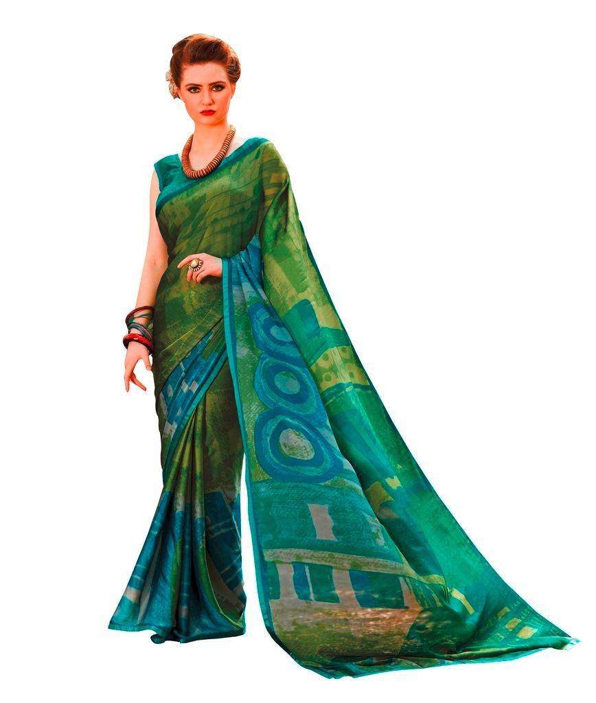 Green Georgette Printed Saree RV08 - Ethnic's By Anvi Creations