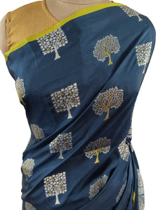 Designer Teal Blue Weaven Resham Silk Saree RJTB - Ethnic's By Anvi Creations