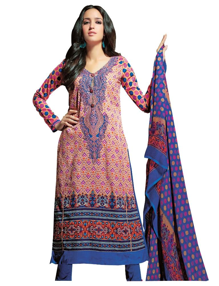 Resham Yoke Embroidered Printed Cotton Dress Material SC2734 - Ethnic's By Anvi Creations