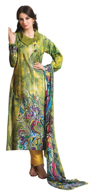 French Crepe Green Lawn Printed Dress Material With Chiffon Dupatta RSH52B - Ethnic's By Anvi Creations