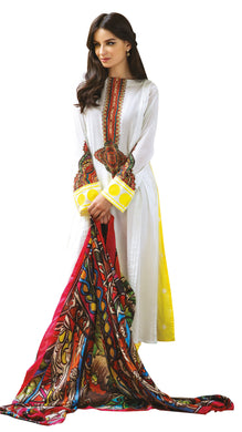French Crepe White Lawn Printed Dress Material With Chiffon Dupatta RSH53A - Ethnic's By Anvi Creations