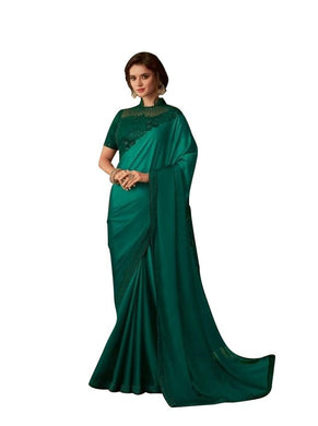 Exclusive Green Chiffon Silk Embroidered Saree with Designer Blouse AC603 - Ethnic's By Anvi Creations