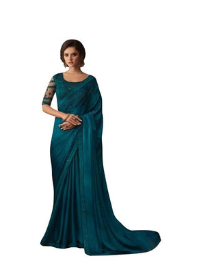 Exclusive Teal Blue Chiffon Silk Embroidered Saree with Designer Blouse AC606 - Ethnic's By Anvi Creations