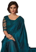 Charger l'image dans la galerie, Exclusive Teal Blue Chiffon Silk Embroidered Saree with Designer Blouse AC606 - Ethnic's By Anvi Creations