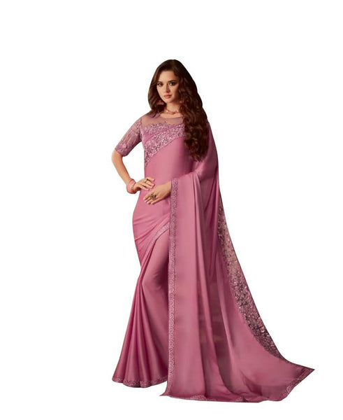 Exclusive Pink Chiffon Silk Embroidered Saree with Designer Blouse AC607