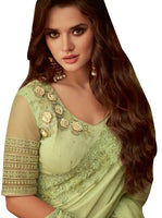 Exclusive Light Green Chiffon Silk Embroidered Saree with Designer Blouse AC609