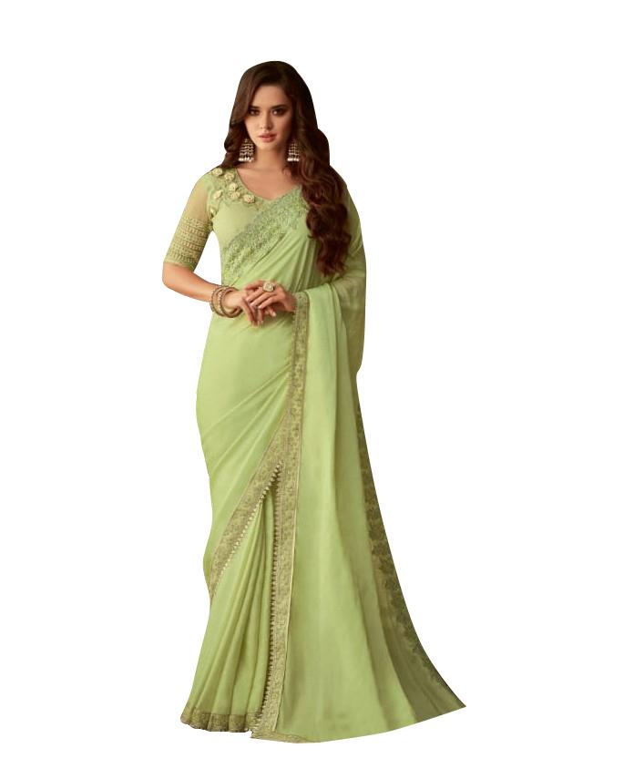 Exclusive Light Green Chiffon Silk Embroidered Saree with Designer Blouse AC609 - Ethnic's By Anvi Creations