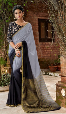 Designer Twin Shaded Gray Black Chiffon Saree with Double Blouse and Mask SAT01