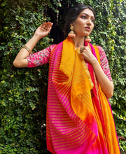 Load image into Gallery viewer, Designer Shaded Yellow Pink Chiffon Saree with Double Blouse and Mask SAT02