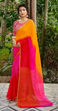 Designer Shaded Yellow Pink Chiffon Saree with Double Blouse and Mask SAT02