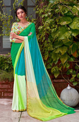 Designer Shaded Green Blue Chiffon Saree with Double Blouse and Mask SAT03