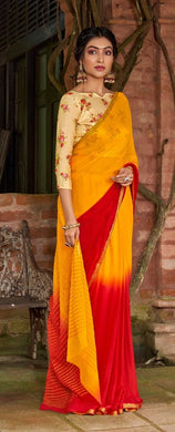 Designer Shaded Red Yellow Chiffon Saree with Double Blouse and Mask SAT04