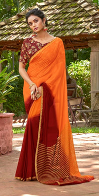 Designer Shaded Orange Maroon Chiffon Saree with Double Blouse and Mask SAT05