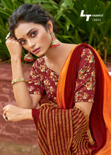 Load image into Gallery viewer, Designer Shaded Orange Maroon Chiffon Saree with Double Blouse and Mask SAT05
