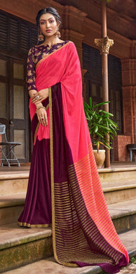 Designer Shaded Carrot Pink Purple Chiffon Saree with Double Blouse and Mask SAT07