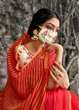 Load image into Gallery viewer, Designer Red Chiffon Saree with Double Blouse and Mask SAT09