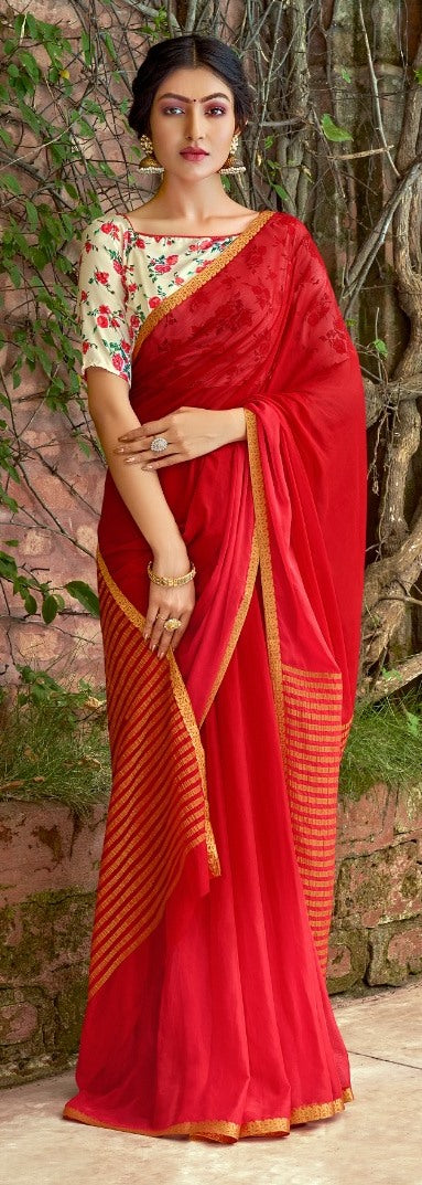 Designer Red Chiffon Saree with Double Blouse and Mask SAT09