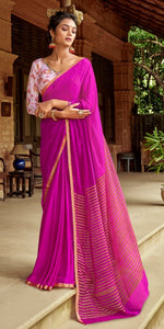Designer Purplish Pink Chiffon Saree with Double Blouse and Mask SAT10