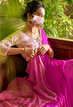 Load image into Gallery viewer, Designer Purplish Pink Chiffon Saree with Double Blouse and Mask SAT10
